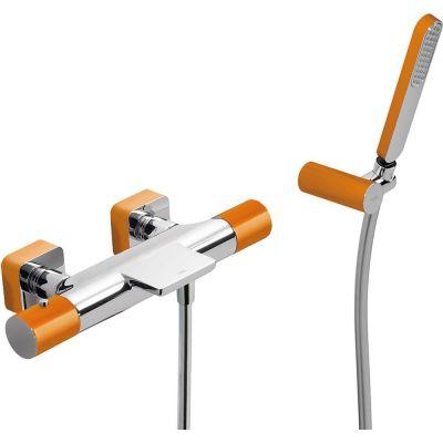 Tres Loft Colors bateria wannowo-prysznicowa termostatyczna z kaskadą pomarańczowa/chrom 200.174.09.NA