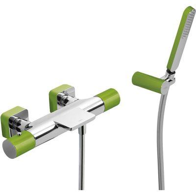 Tres Loft Colors bateria wannowo-prysznicowa termostatyczna z kaskadą zielona/chrom 200.174.09.VE