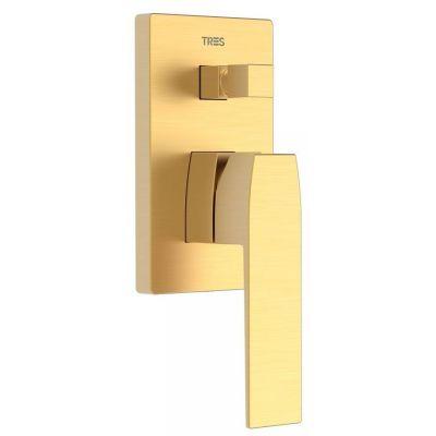 Tres Slim Exclusive bateria wannowo-prysznicowa podtynkowa złoty matowy 202.180.01.OM