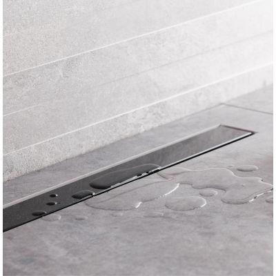 Bravat Seamless Black Glass Steel odpływ liniowy 65 cm szkło czarne polerowane SEAMLESSBLACKGLASSDRAIN65