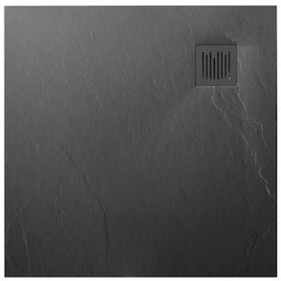 Roca Ignis brodzik kwadratowy 90 cm kompozyt Stonex szary łupek AP70238438401200
