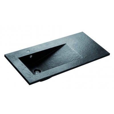Bathco Tecno Pizarra umywalka 100x45 cm  blatowa dolomitowa czarna 0569