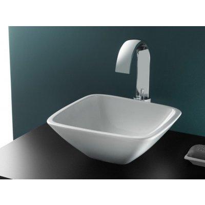 Bathco Spain Baviera umywalka 30x30 cm nablatowa kwadratowa biała 4050