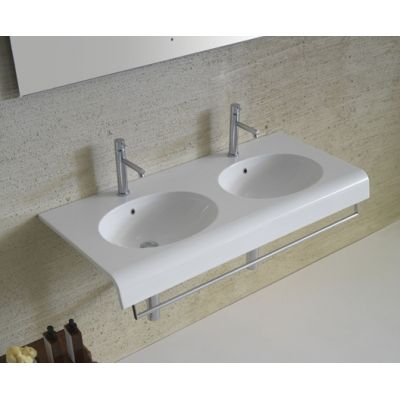 Globo Bowl umywalka 110x50 cm ścienna podwójna biała BP110.BI
