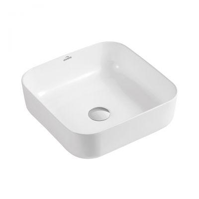 Invena Reja umywalka 39 cm nablatowa kwadratowa biała CE-15-001