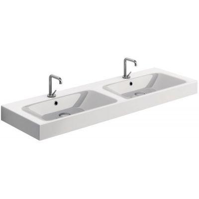 Kerasan Cento umywalka 140x45 cm prostokątna podwójna biała 353601