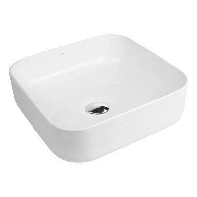 Oltens Hadsel umywalka 38,5 cm nablatowa kwadratowa z powłoką SmartClean biała 40807000