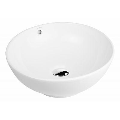 Oltens Fana umywalka 42 cm nablatowa okrągła z powłoką SmartClean biała 40812000