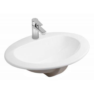Oltens Kjos umywalka 52x43 cm wpuszczana w blat owalna z powłoką SmartClean biała 41700000
