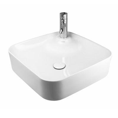 Oltens Lysake umywalka 42,5 cm nablatowa kwadratowa z powłoką SmartClean biała 41808000