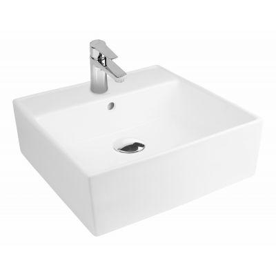 Oltens Hyls umywalka 47 cm nablatowa kwadratowa z powłoką SmartClean biała 41809000