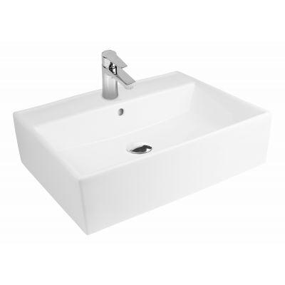 Oltens Hyls umywalka 58,5x44 cm nablatowa prostokątna z powłoką SmartClean biała 41810000