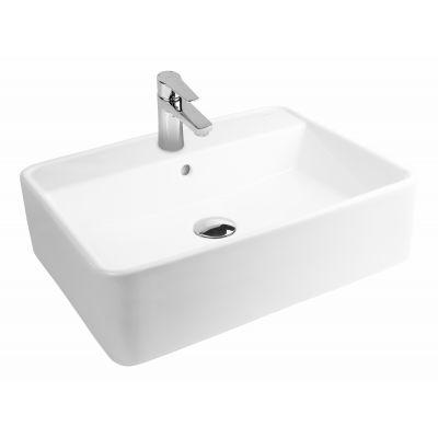 Oltens Duve umywalka 58x43,5 cm nablatowa prostokątna z powłoką SmartClean biała 41812000