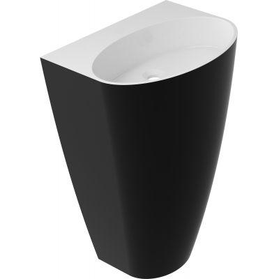 Omnires Marble+ Siena umywalka 55x43x85 cm wolnostojąca biały/czarny połysk SIENAUWBOBCP