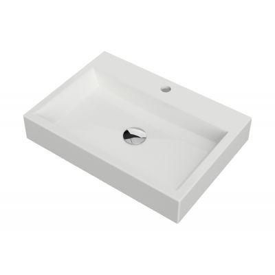 Omnires Marble+ umywalka 60x42 cm nablatowa prostokątna biała THASOS600BP