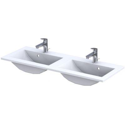 Oristo Silver umywalka 120x45 cm meblowa podwójna prostokątna biała UME-SI-120-92-D