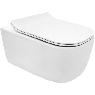 Rea Mateo Rimless miska WC wisząca z deską wolnoopadającą Duroplast ZM biała REA-C1258