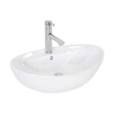 Rea Cindy umywalka 59x39 cm nablatowa owalna biała REA-U0155