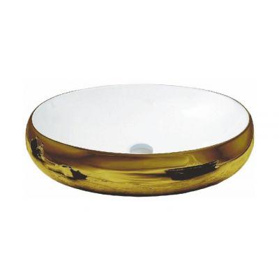Rea Melania Gold umywalka 60x40,5 cm nablatowa owalna biała/złota REA-U1050