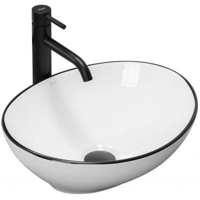 Rea Sofia Black umywalka 41x34,5 cm nablatowa owalna biała/czarna REA-U3217