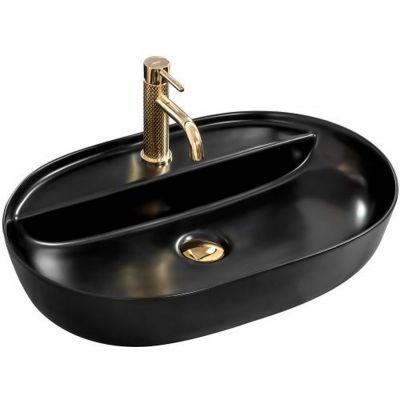 Rea Aura umywalka 60x40 cm nablatowa owalna czarny mat REA-U7901