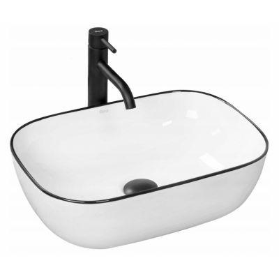 Rea Marbel umywalka 45x32 cm nablatowa prostokątna biała/czarna REA-U8603