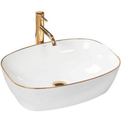 Rea Sol umywalka 50x38 cm nablatowa prostokątna biel/złoto REA-U8605