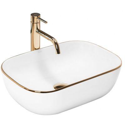 Rea Belinda Slim umywalka 46x33 cm nablatowa prostokątna biała/złota REA-U8736