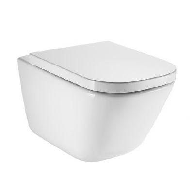 Zestaw Roca Gap miska WC wisząca Rimless z deską wolnoopadającą biała (A34647L000, A80148200U)