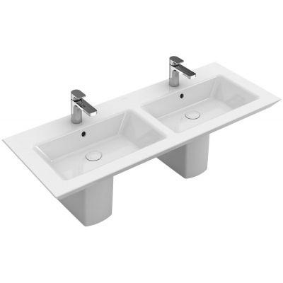 Villeroy & Boch Legato umywalka 130x50 cm prostokątna podwójna Weiss Alpin 4150D101