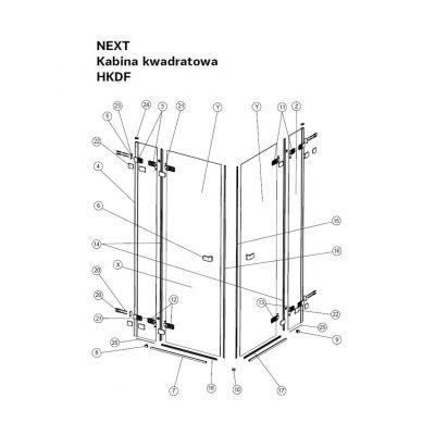 Koło Next uszczelka do drzwi 90 cm dolna lewa A170080