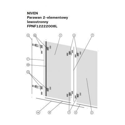 Koło Niven zawias do parawanu górny lewy A170266