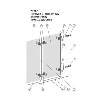 Koło Niven uszczelka pozioma do parawanu wewnętrzna prawa A170309