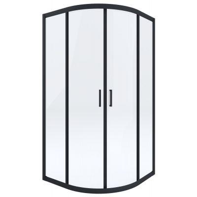 Deante Funkia kabina prysznicowa 90 cm półokrągła czarny/szkło przezroczyste KYPN51K