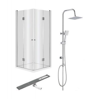 Zestaw Deante 3 kabina prysznicowa Kerria 90 cm z odpływem liniowym do wypełnienia płytkami i zestawem prysznicowym Floks (KTK041P, KOS008A, NAC01FK)