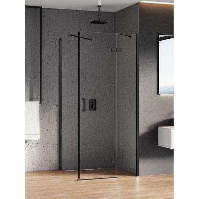 New Trendy New Renoma Black kabina prysznicowa 80x100 cm prawe czarny/szkło przezroczyste D-0202A/D-0112B
