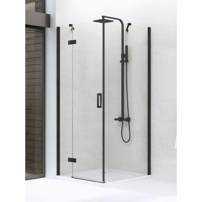 New Trendy New Renoma Black kabina prysznicowa 80 cm kwadratowa lewa szkło przezroczyste D-0201A/D-0110B