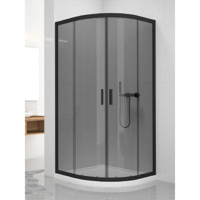 New Trendy New Varia Black kabina prysznicowa 90x90 cm półokrągła czarny/szkło przezroczyste K-0566