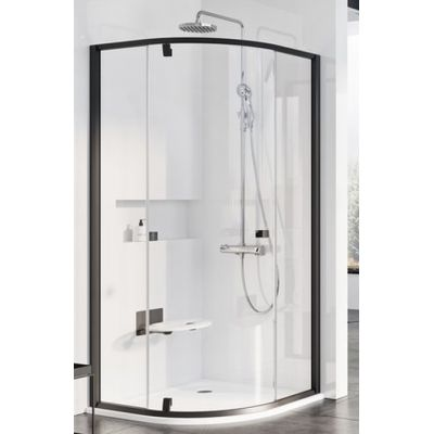 Ravak Pivot PSKK3-80 kabina prysznicowa 80x80 cm półokrągła czarny/transparent 37644300Z1