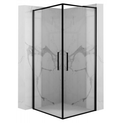 Rea Abra kabina prysznicowa 80x80 cm kwadratowa czarny/szkło przezroczyste REA-K5501