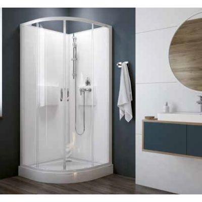 Sanplast Basic Complete KCKP4/Basic-SHP+BPza kabina prysznicowa 80 cm półokrągła szkło przezroczyste z brodzikiem i zestawem prysznicowym 602-460-0920-01-4H0