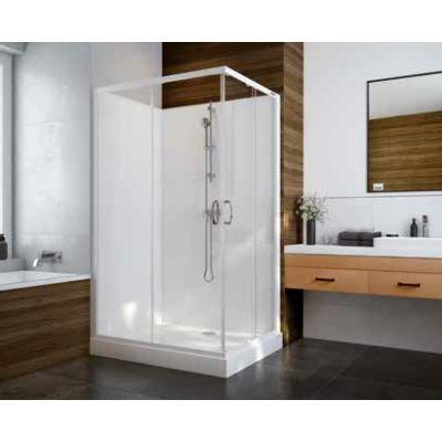 Sanplast Basic Complete KCKN/Basic-S+Bza kabina prysznicowa 100x80 cm prostokątna szkło przezroczyste z brodzikiem i zestawem prysznicowym 602-460-0120-01-4B0