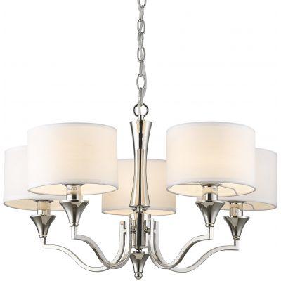 CosmoLight Washingnton lampa wisząca 5x40W nikiel/biały P05915WH