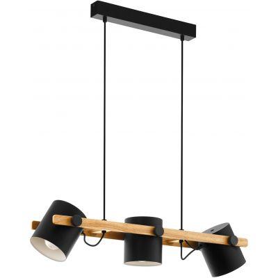 Eglo Hornwood lampa wisząca 3x60W czarny/kremowy/brązowy 43045