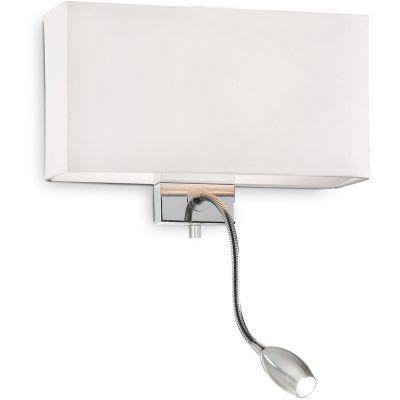 Ideal Lux Hotel kinkiet 1x40W/1x1W biały/chrom 035949