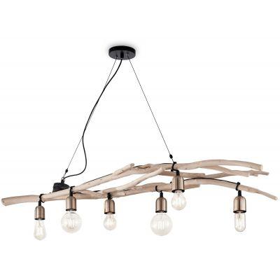 Ideal Lux Driftwood lampa wisząca 6x60W drewniana 180922