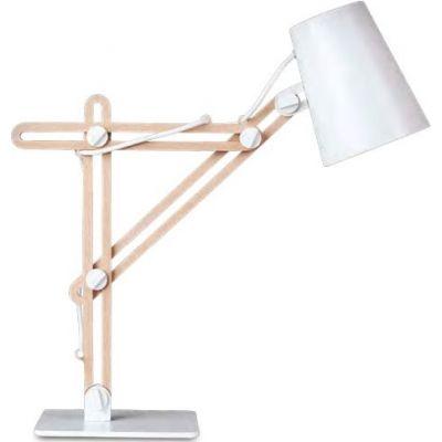 Mantra Looker lampa biurkowa 1x15W biały/drewno 3615