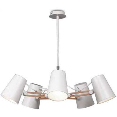 Mantra Looker lampa wisząca 5x15W biały/drewno 3770