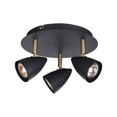 Markslöjd Ciro lampa podsufitowa 3x35W czarny/złoty szczotkowany 106320
