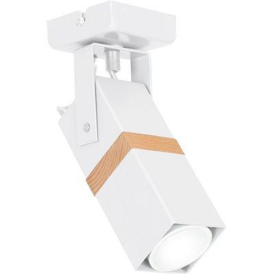 Milagro Vidar White lampa podsufitowa 1x8W biało/drewniana MLP5405